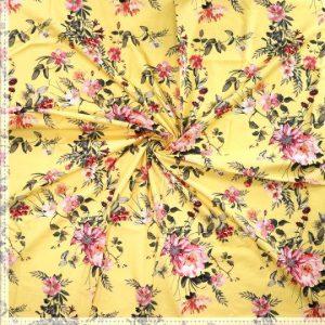 Katoen bloemen geel